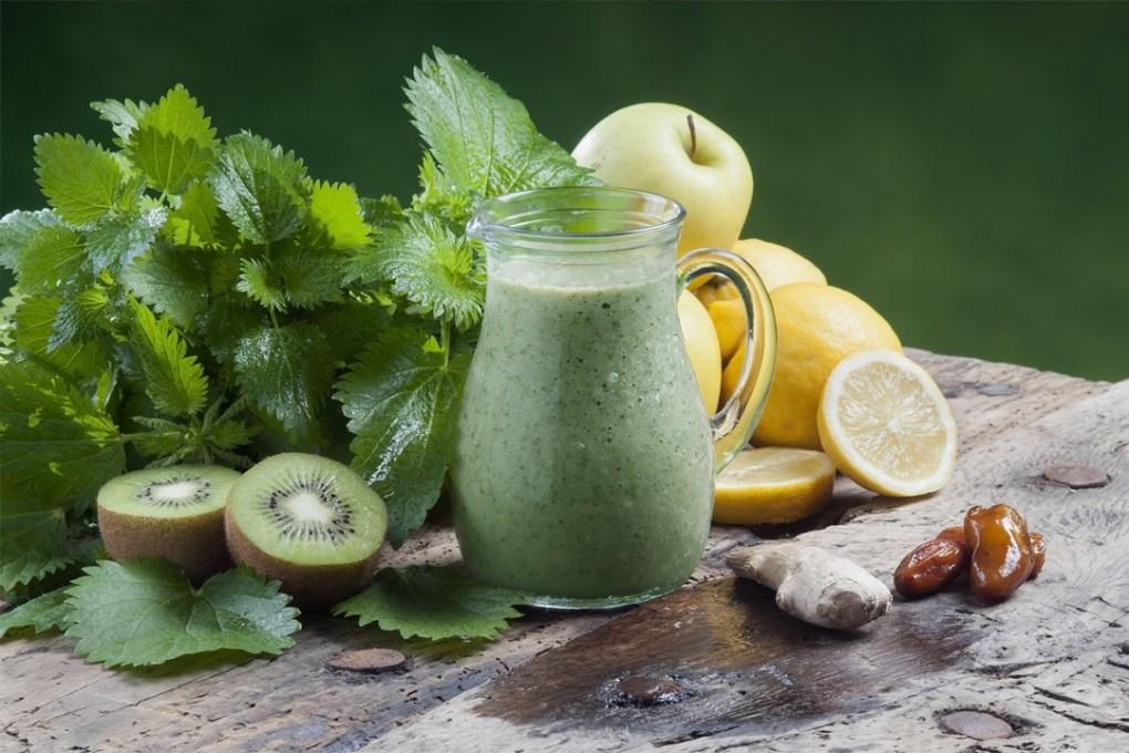 Brennnessel-Smoothie-mit-Kiwi-Ingwer-Datteln-Apfel-Zitrone