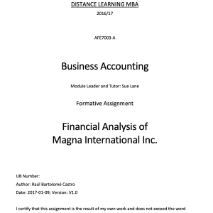 Financial Analysis of Magna International Inc.