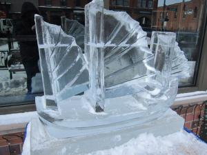 Pirate ship ice carving at Fire and Ice Festival