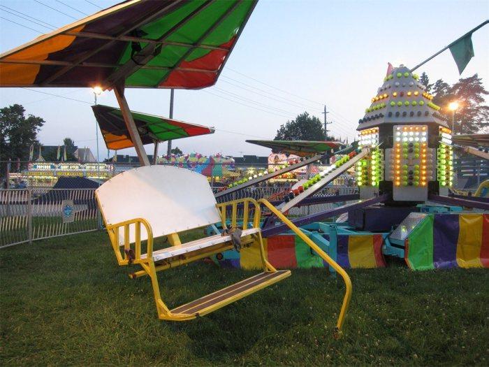 Carnival rides at Algonac Pickeral Tournament