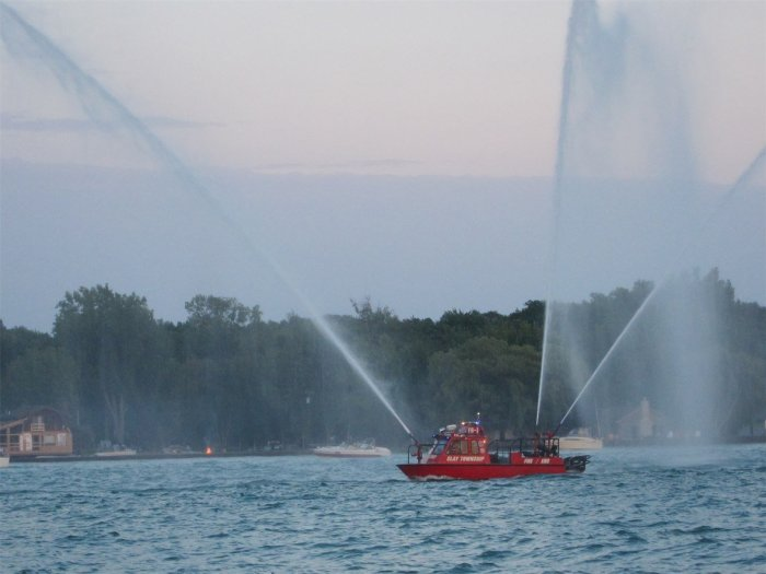Firehouse Boat spraying water