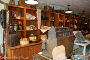 Glen Haven General Store shelves filled with product and old cash register