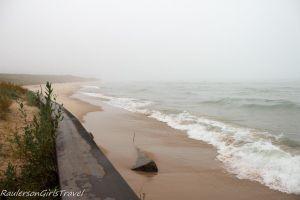 Waves crashing along Big Sable Point at Ludington State Park