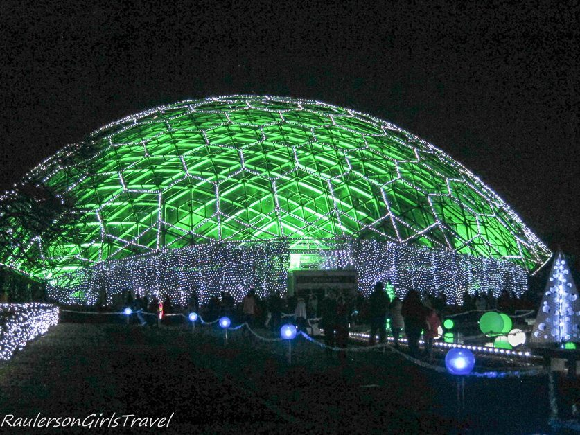 Greenhouse Dome Decorated In Holiday Lights At Garden Glow At Missouri Botanical  Gardens