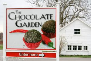 The Chocolate Garden sign at the entrance