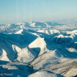 Alaskan mountain range view from the plane