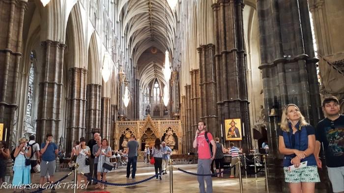 Inside Westminster Abbey in London, England