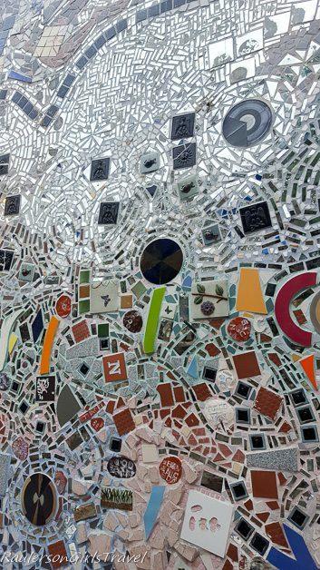 Mirror mosaic tiles at the Magic Garden