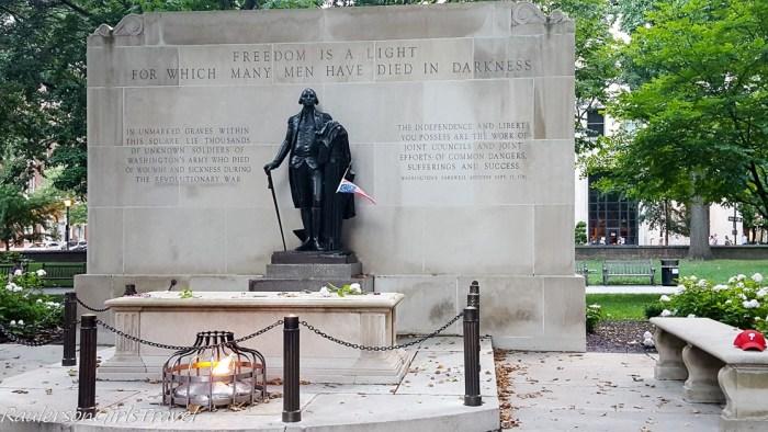 Washington Square Park Monument for buried Philadelphians