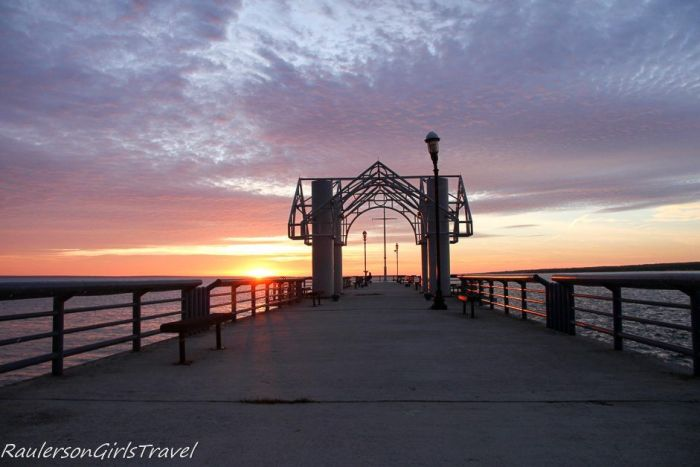 Sunrise over the pier in Mackinaw City
