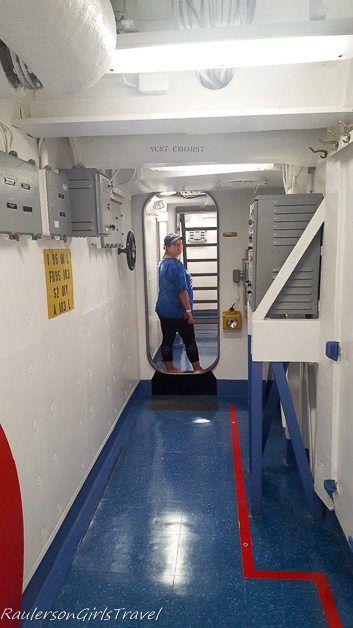 Kayla walking through USS New Jersey