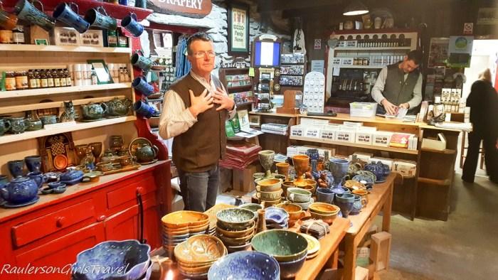 Stephen showing off Molly Gallivan's gift shop