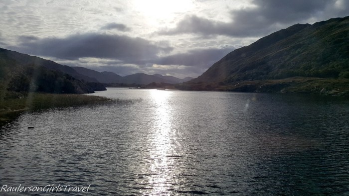 Sunshine reflecting off a lake in the Ring of Kerry, Ireland