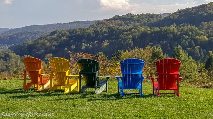 Colorful adirondack chairs viewing mountain in Vermont 20 Best RaulersonGirlsTravel Photos of 2017
