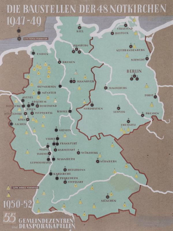Karte Deutschlands mit eingezeichneten Standorten der Notkirchen