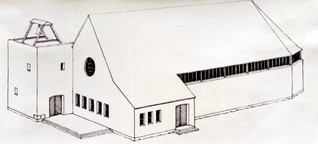 Zeichnung der Außenansicht einer Notkirche