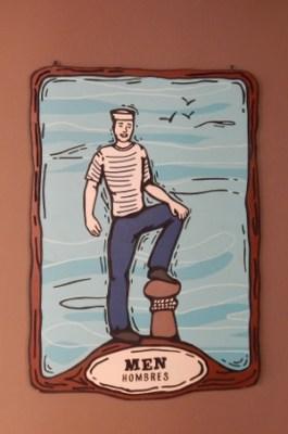 Toilettenschild einer Herrentoilette in Mexiko. Hombres.