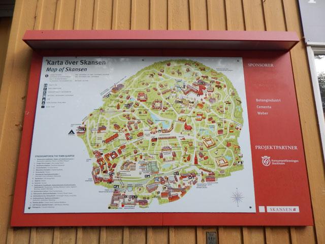 Karte Freilichtmuseum Skansen