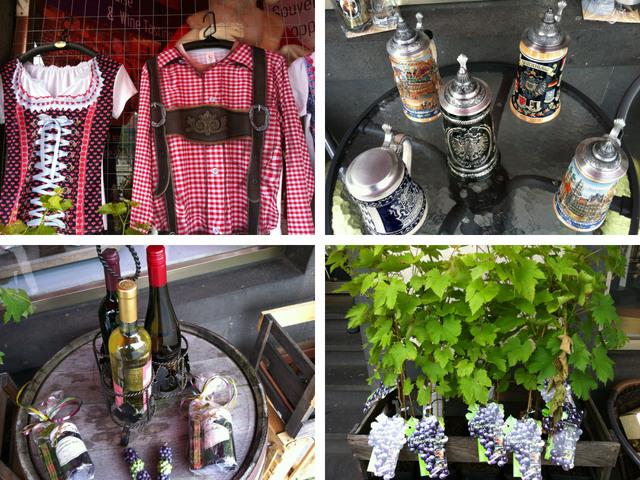 Trachten, Bierkrüge, Wein und Reben, was sich Touristen als deutsche Souvenirs vorstellen.