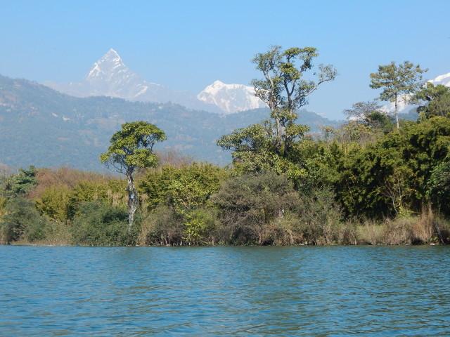 Romantischer Seeblick vom Phewa See auf den Himalaya bei Pokhara.
