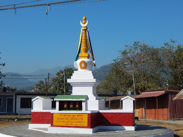 Stupa beim Tibetanischen Dorf in Pokhara, Nepal.