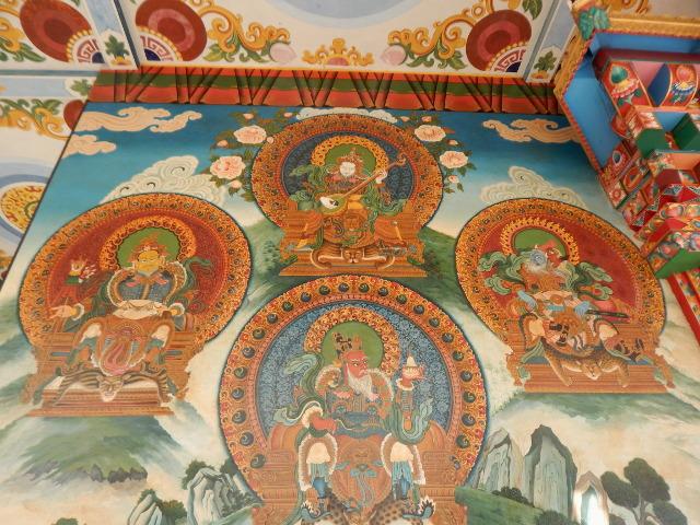 Wandgemälde im deutschen Tempel in Lumbini, Nepal.
