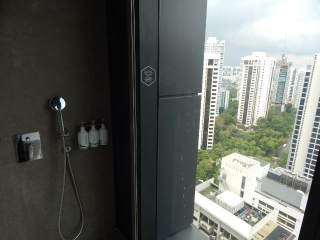 Dusche mit Aussicht im 22. Stock Blick auf die Hochhäuser von Singapur.