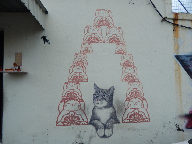 Fortune Cat, street art georgetown penang