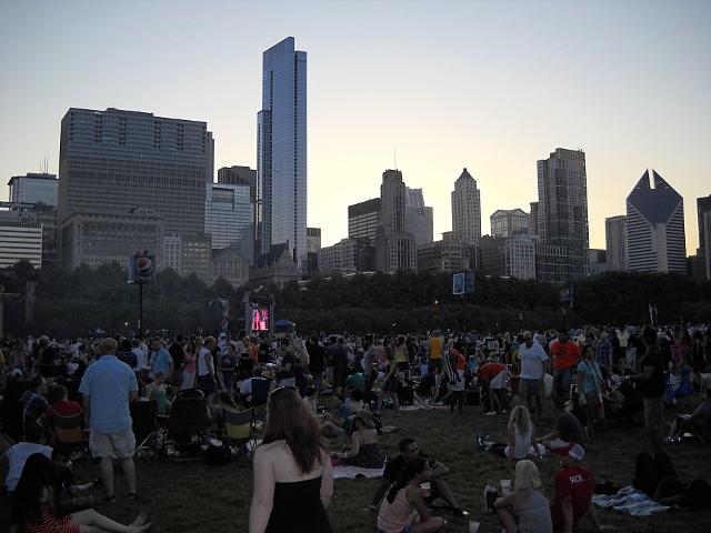 Chicago Blues Festival Abendstimmung vor der Hochhauskulisse
