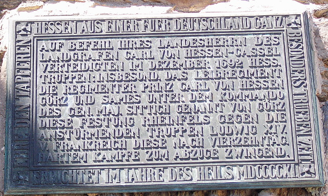 Rheinfels mit Angaben über den Angriff der Truppen Ludwig IV.