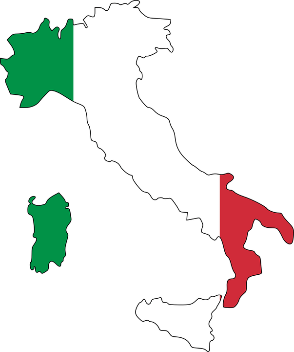 Map of Italy with Italian flag