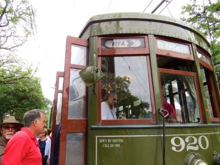Boarding the St. Charles streetcar for a trip to the Garden District