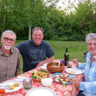 Dinner at camp with Diana & Ed