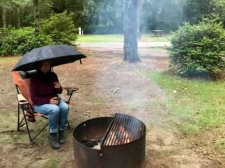 Campfire in the rain