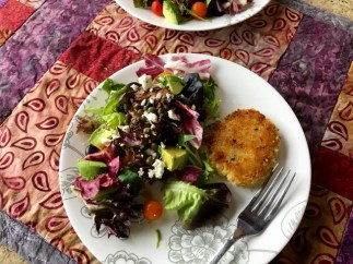 Delicious crab cakes and salad, an impromptu lunch