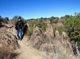Hiking the trails at Chihuahuan Botanical Gardens on a freezing day