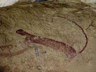 Panther Cave pictograph from across the river