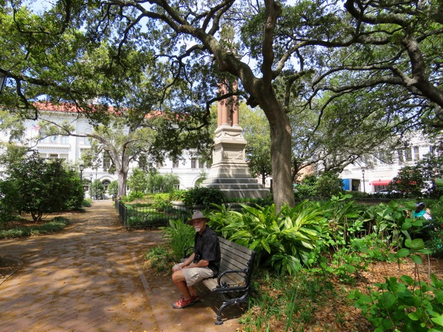 The beautiful Savannah town squares are the perfect place to relax