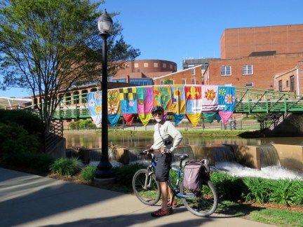 Biking the Swamp Rabbit Trail through downtown Greenville
