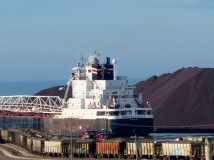 Coal pile and freighter on the Ashtabula River