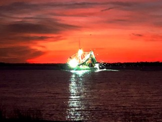 Shrimp boat at dusk, Fernandina Beach, Florida