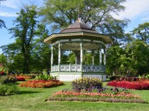 Bandstand surrounded by colorful Victorian gardens