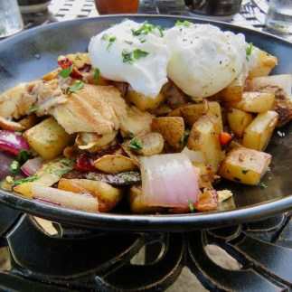 Vegetable hash with smoked trout and poached eggs
