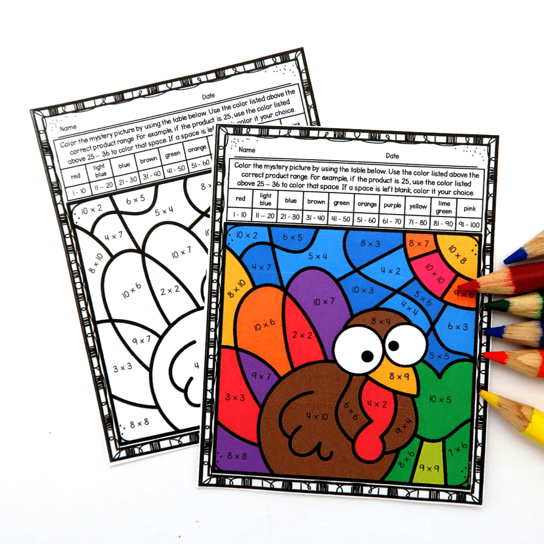 Fall Multiplication Color By Number Worksheets