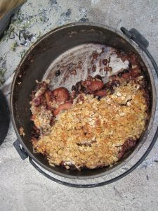 Just getting into a strawberry, rhubarb crisp, before it's even out of the oven!  I love my Dutch oven...