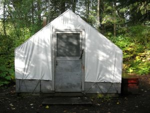 Finnegan's Point Camping Area - wall tent and bear proof cache