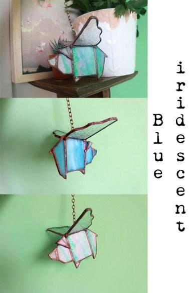 Geometric Flying pig ( iri Blue)
