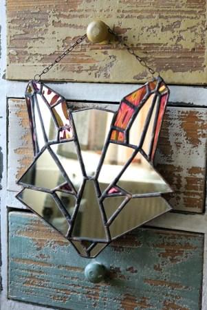 (Sold: Ontario, Canada) Geometric Fox Mirror (iri)