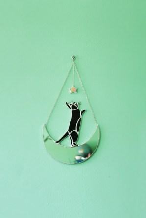 Crescent Moon Black Cat Mirror