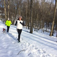 Kathy, Barry, and Odie trooping out on the crunch snow of the Red trail section of the ravenFebruary 2015.